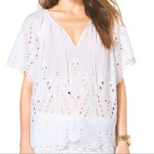Michael Kors White Eyelet Peasant Top 🤍✨🤍✨